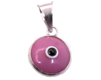 3 pcs 925k Sterling Silver Pink Evil Eye Pendant | Evil Eye Jewelry, Evil Eye Charm, Silver Evil Eye,Turkish Evil Eye,Greek Evil Eye Pendant