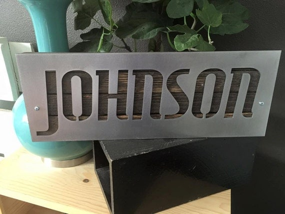 Custom 16x6 Name Metal Art Sign with reclaimed wood by