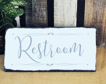 Restroom Sign, Restroom Plaque, Slate Restroom Sign, Outdoor Restroom Sign, Slate Plaque, Bathroom Sign, Bathroom Plaque, Slate Bathroom,