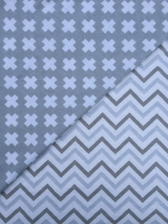 Grey And White Flannel Crib Sheets Set Of 2 By Sweetpeateepee