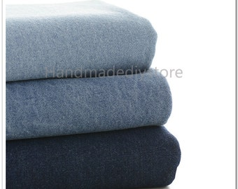 Denim Cotton Fabrics, Heavy Thick Washed Denim Fabrics, 100% Blue Cotton Dyed Light/ Dark Blue Jeans Cotton Fabrics (JJ11)