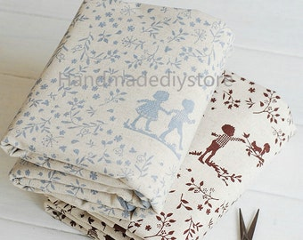 Kids Fabric, Girl and Boy Silhouette with Leaf/ Rabbit/ Bird/ Animals Patterned Cotton Linen Blend Fabric (JJ124)
