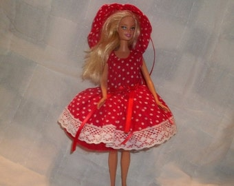 Barbie clothes-handmade, summer dress with hat-barbie dress ,handmade barbie dress,barbie hat