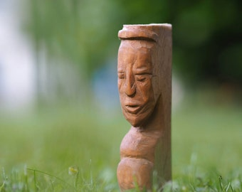 Wooden totem, home decor, face of a man, hold the door