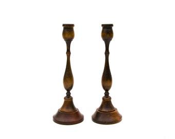 Turned Walnut Wood Candlesticks from Japan