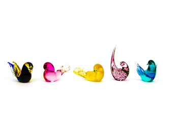 Set of Five Formia Murano Glass Birds