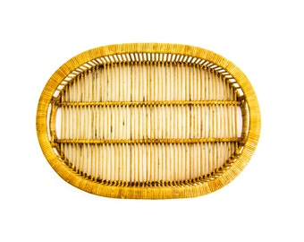 Vintage Rattan Serving Tray, 1970s Serving Tray