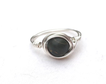 Handmade Dark Green Wrapped Silver Ring Size 7