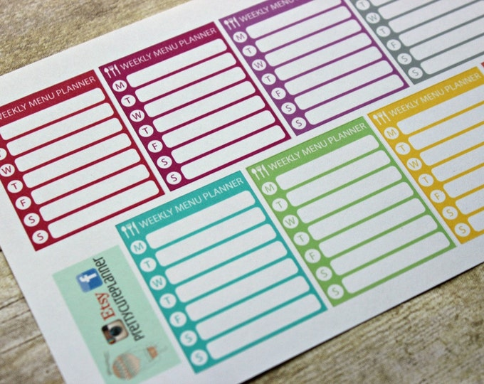 Planner Stickers - Weekly Menu Planner Stickers - Reminder Stickers - ECLP Stickers - Happy Planner - Menu planning - Weekly Stickers