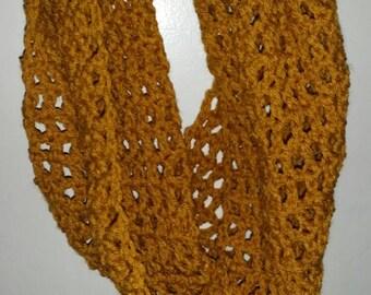 Mustard yellow/gold crochet cowl