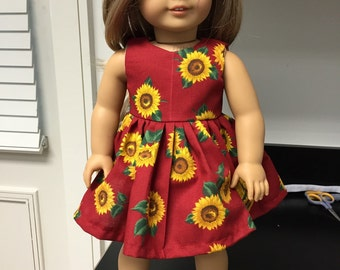 """Red Sunflower 18"""" Doll Dress - 3 READY TO SHIP"""
