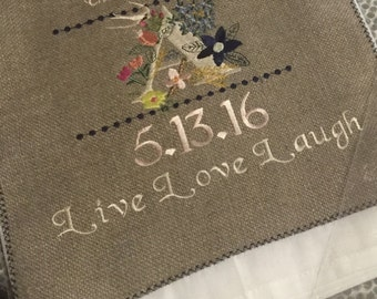 Custom Embroidered Burlap Announcements