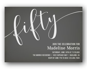 50th Birthday Invitations for Men or Women / Gender Neutral Invitations / 50th Birthday Party / 50th Invitations / Printable or Printed