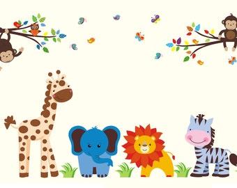 "Reusable Wall Decals - Safari Wall Decals - Nursery Wall Art - Wall Decals Nursery - Large Animal Decals - Nursery Artwork - 67"" x 106"""
