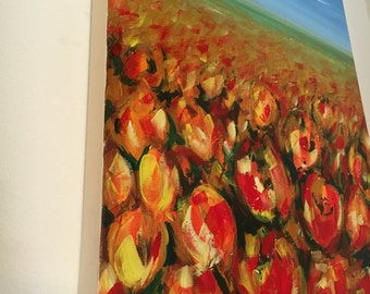 acrylic painting on canvas 50 x 70 cm tulips floral red light blue