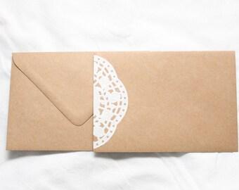 Envelope kraft vintage lace