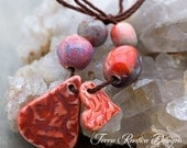 Made with love porcelain bead set-red orange and eggplant purple