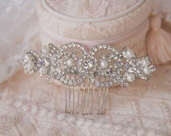 Pearl Crystal Bridal Hair Comb, Luxury Wedding Headpiece, Rhinestone Hair Comb, Vintage Style Hair Pieces, Gatsby, Wedding Jewelry