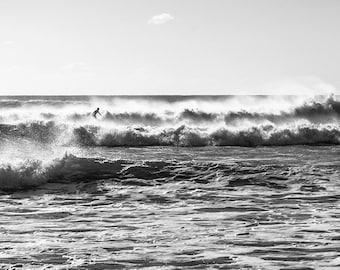 KIMMERIDGE SURF. Surfing Print, Black and White Print, Monochrome Print, Surfing Picture, Wall Art, Home Decor