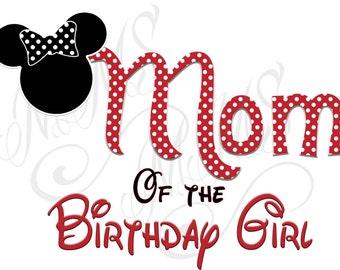Minnie Mickey Mouse Mom Birthday Girl Shirt DIY Iron On Digital Art Little Sister Matching Red Black Dot Birthday Pregnancy Announcement