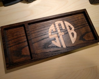 Monogrammed Solid Oak Valet - Key Tray - Change Dish - Dresser Valet - Mens Valet - Dresser Organizer