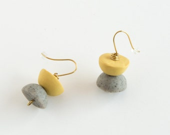 Mustard and Grey Sone Half-Moon Drop Earrings