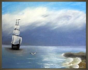 Seascape  Original Oil Painting by Mary Alexeeva (blue, black & white)