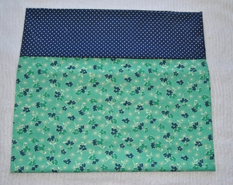 40s Inspired Green Floral Pillow Case