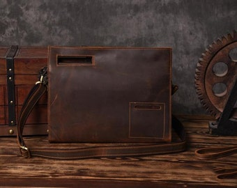 Men's Vintage Leather Satchel - Brown Leather Satchel Handbag - Very Cool Gift for Men N31