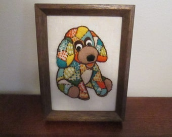 Embroidered Puppy Dog Framed Picture Vintage