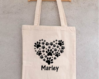 "Tote Bag ""Legs of dogs or cats"" to customize with the name of your pet - bag shopping - shopping bag - cotton bag"