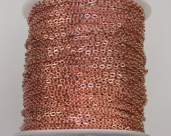 300feet Copper Cable chain - 2x3mm Unsoldered Link, Copper Flat Cable chain, Chain by the foot, Chain bulk chain
