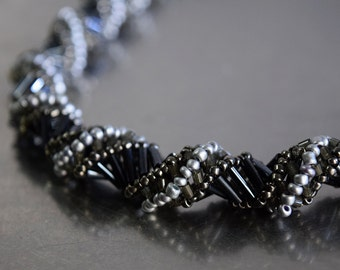 Seilver and hematite russian spiral necklace