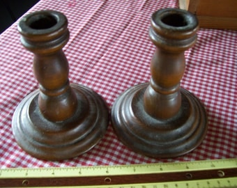 pair (2) vintage wooden candle stick holders