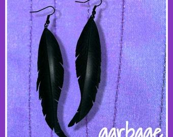 Raven Feather Vegan Earrings