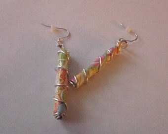 Wire Wrapped Paper Bead Dangle Earrings