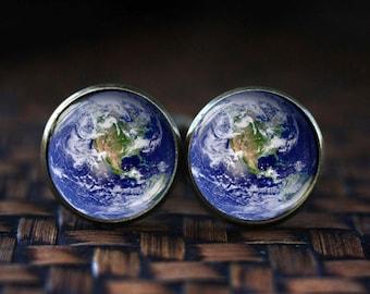 Planet Earth cufflinks, Earth Jewelry, Galaxy cufflinks, Universe Jewelry, Space cufflinks, nature cufflinks, Planet cufflinks