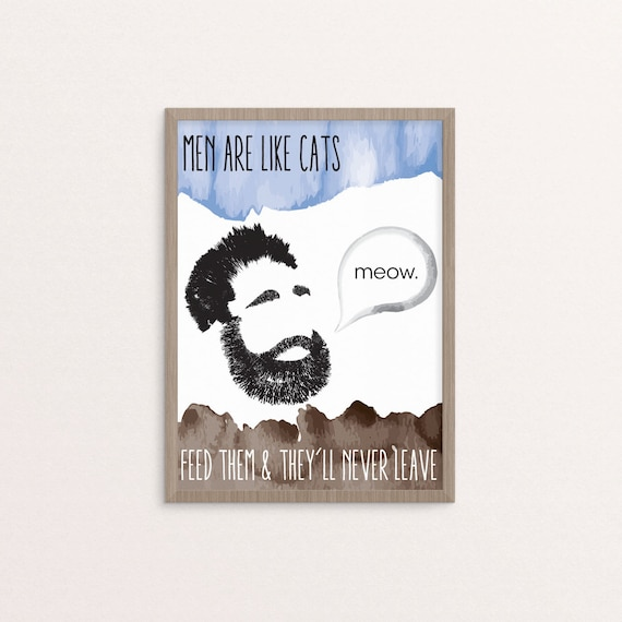 Items similar to men are like cats art print on etsy for Art sites like etsy