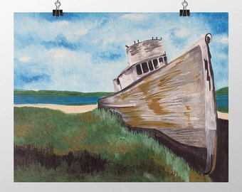 WR3CK - Ship Wreck on Shore Original Acrylic Painting on Canvas Board 50 X 40 cm