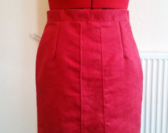 Handmade red faux suedette a-line mini skirt
