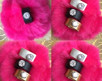 Verry Beutifull Faux Leather and Swarovski crystal Ring