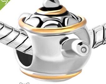 Silver Pandora style kettle teapot tea pot teakettle cup charm 925