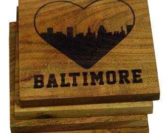 I Love Baltimore Maryland Coasters - Set of 4 Engraved Acacia Wood Coasters