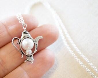 Art Nouveau White Pearl Teapot Necklace Sterling Silver Chain Necklace Silver Teapot Double Pearl Necklace Teapot Charm Alice in Wonderland