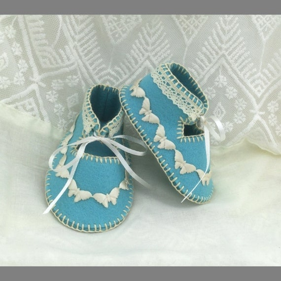 Two Tone Blue with Cream Satin Butterflies Wool Felt Baby Shoes in Gift Box. 0-3 months OOAK