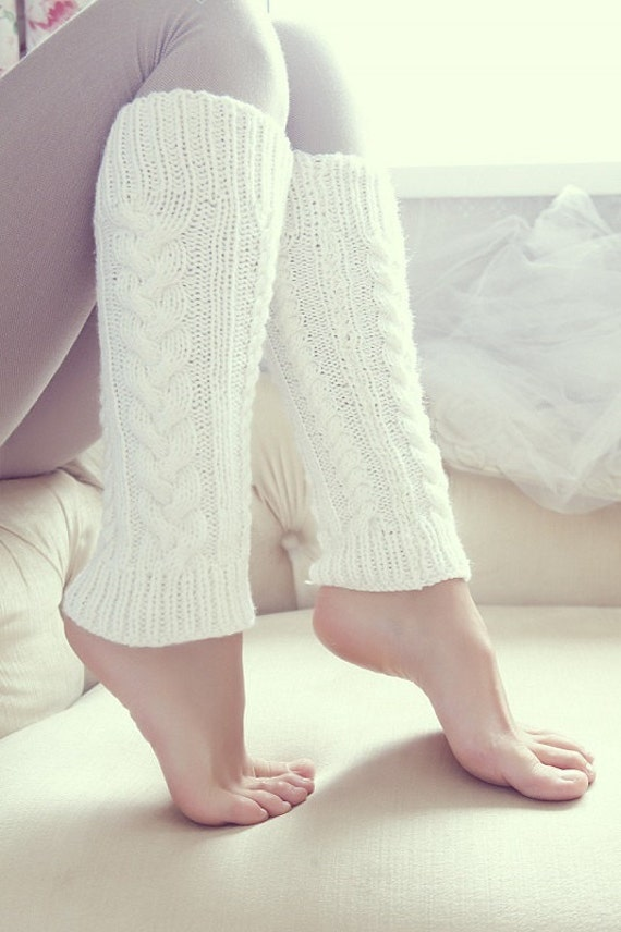 Knit white Leg Warmers, Women's Leg Warmers, Knitted Leg Warmers, long socks, wonderful stretchy gaiters, wool