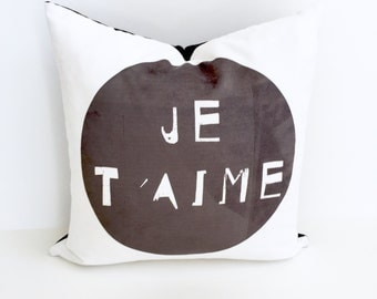 Pillow | French Pillow | Je Taime | I Love You |
