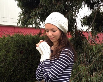 Crocheted slouchy beanie, fingerless mittens and scarfs.