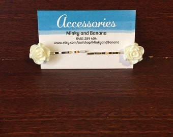 White Rose Bobby Pins Set of 2