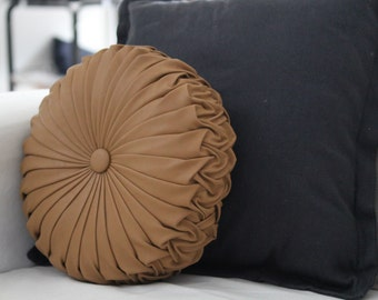 ONE ONLY Tan Faux Leather Vintage Style Round Cushion
